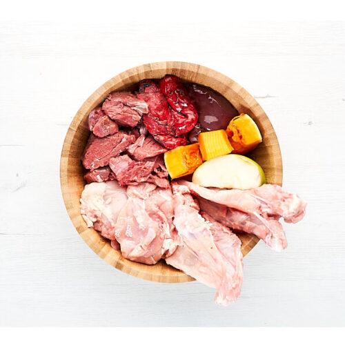 Squeaky Dieta BARF Ciervo y Pollo, verduras y fruta