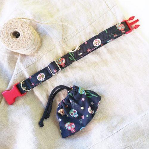 Collar Calaveras Hand Made 100% Algodón Talla M/L
